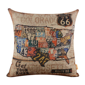 """LINKWELL 18x18"""" Vintage Route 66 American Map USA Burlap Home Cushion Cover Throw Pillowcase Man Cave Wood Look Shabby Chic"""