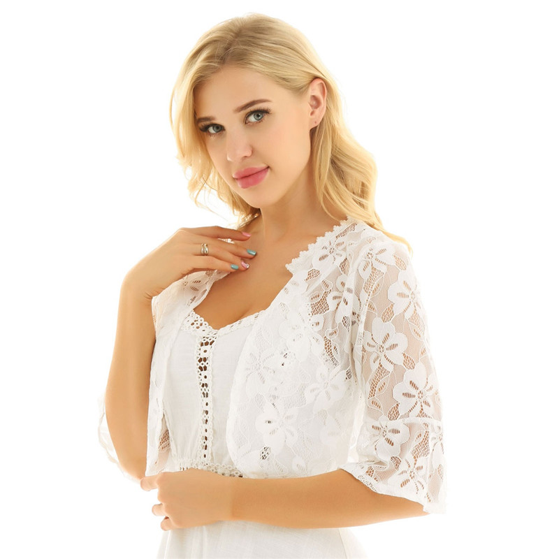Floral Lace Wrap Half Bell Sleeve Black White Bridal Wraps Jacket Bolero 12