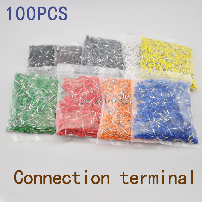 100PCS E1008 Tube pre-insulating terminal insulated cable wire connector crimp terminal (type TG-JT) AWG #18 E- 15pcs a w g 14 6 copper cable lug tube wire crimp terminal ring connector 88a