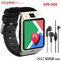 2017 nuevos aplus gv18 smartwatch bluetooth smart watch para android ios teléfono soporte gps sos sms gprs tarjeta sim tf nfc pk dz09 gt08