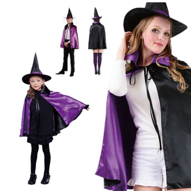 Kids Adult  Wizard Cloak with Hat Cap Women Girls Size Halloween Purple Cloak Fancy Party Cosplay Costume