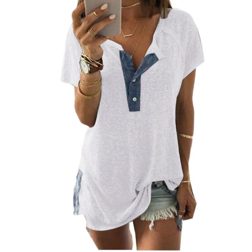 KANCOOLD Tops High Quality Lady Short Sleeve Loose Casual Button T-Shirt Tank Button Summer Tops For Women 2018 Ap26