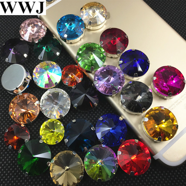 All Colors Rivoli Glass Crystal Sew On Stone With Metal Cup Claw Setting  6mm 07fe371e37af