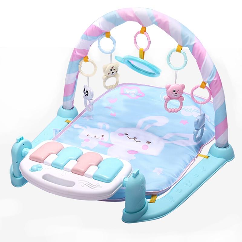 Tapis de jeu bébé jouets de gymnastique 0-12 mois éclairage doux hochets jouets musicaux pour bébés jouets jouer Piano gymnase bleu