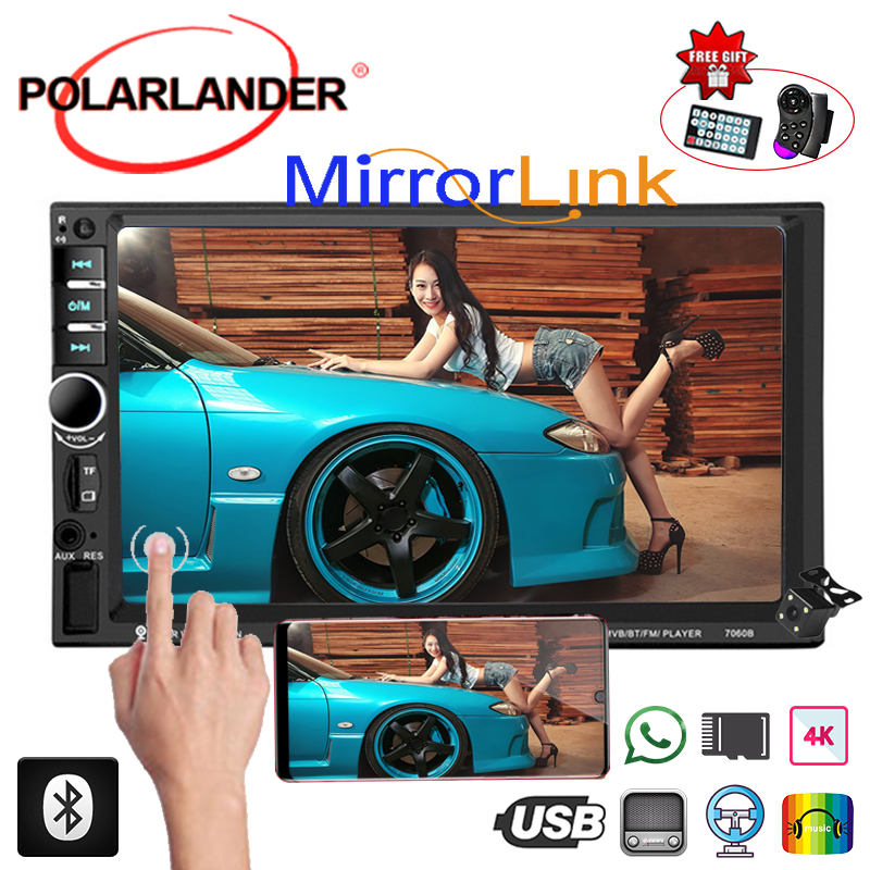 Rear Camera Car Radio Audio Stereo Mirror Link Touch Screen Bluetooth Multimedia HD Player MP5 2 Din 7 Inches Digital Display image