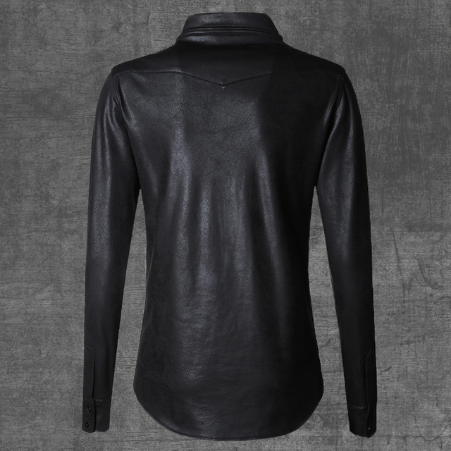 2017 Men Casual Long Sleeve Shirts Men Solid Color Leather Shirts High Quality Breathable Slim Fit Spring Autumn Fashion Shirts