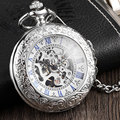 Antike Volle Silber Edelstahl Taschenuhr Mechanische Männer Steampunk Vintage Hand wind Gravierte Fob Anhänger Uhr Frauen-in Taschenuhren aus Uhren bei