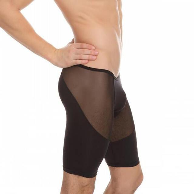 KWNA.Z celos men's sleep bottom pajamas masculino mid home clothes high elasticity mesh transparante broek sleeping lounge