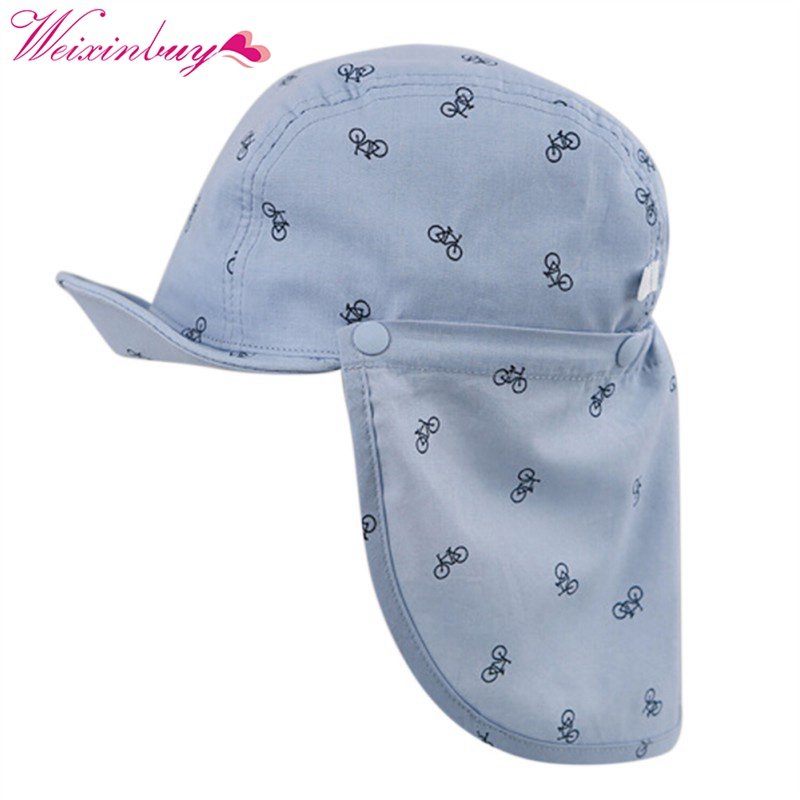 2017 New Print Sun Hat Baby Summer Caps for Children with Soft Brim Blue/White Detachable for 6-18 Months 2 pcs/Set 2 pin disc ceramic capacitor set blue 6 pcs