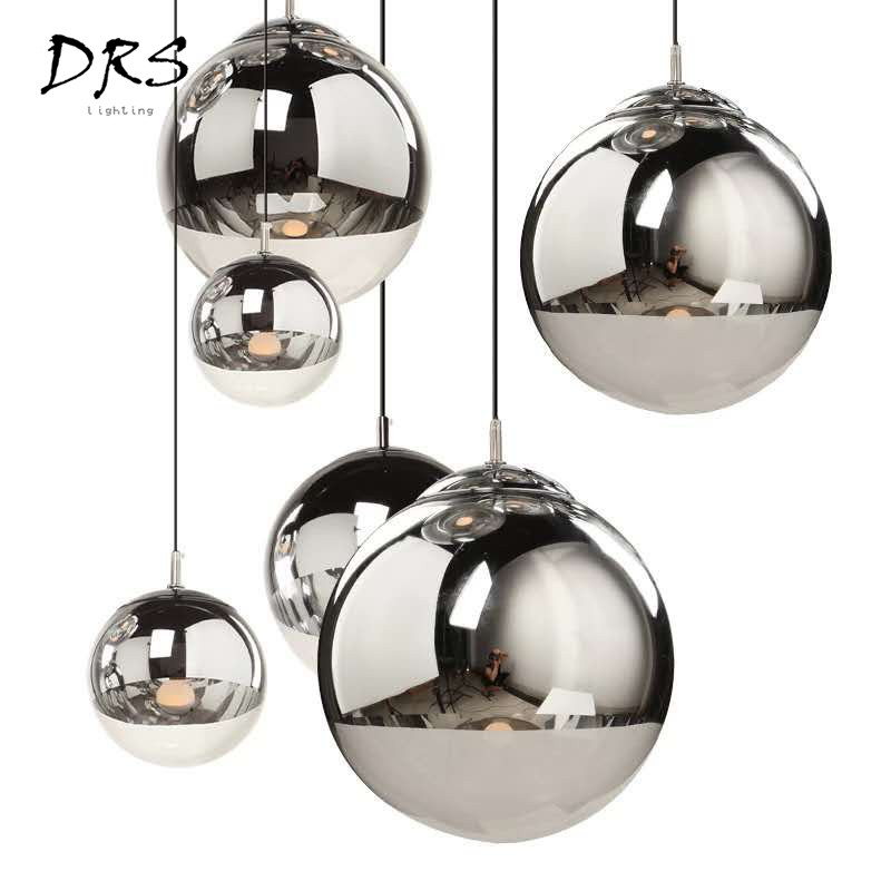 Ceiling Lights & Fans Nordic Attractive Gold/sliver Glass Shade Silver Inside Mirror Pendant Light E27 Led Pendant Lamp Glass Ball Indoor Living Room To Enjoy High Reputation In The International Market