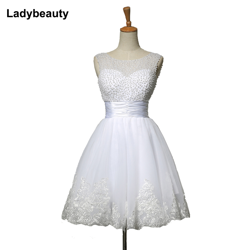 Ladybeauty 2018 λευκό σύντομο νυφικά νύφη σέξι δαντέλα νυφικό νυφικό φόρεμα νυφικό συν μέγεθος ελεφαντόδοντο vestido de noiva curto