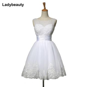 Ladybeauty 2018 white short wedding dresses the bride sexy lace wedding dress bridal gown plus size