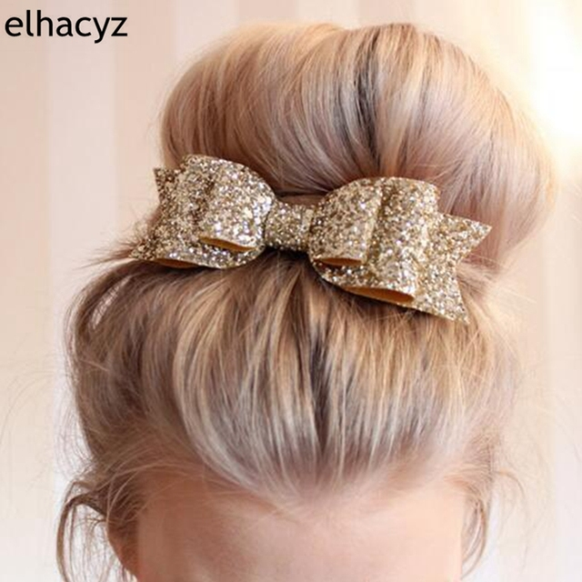 1 PC הקמעונאי שיער קליפ נשים תינוקת גדול גליטר שיער Bow ילדים סיכות ראש לילדים אבזרים לשיער פעוטות בארה 'ב