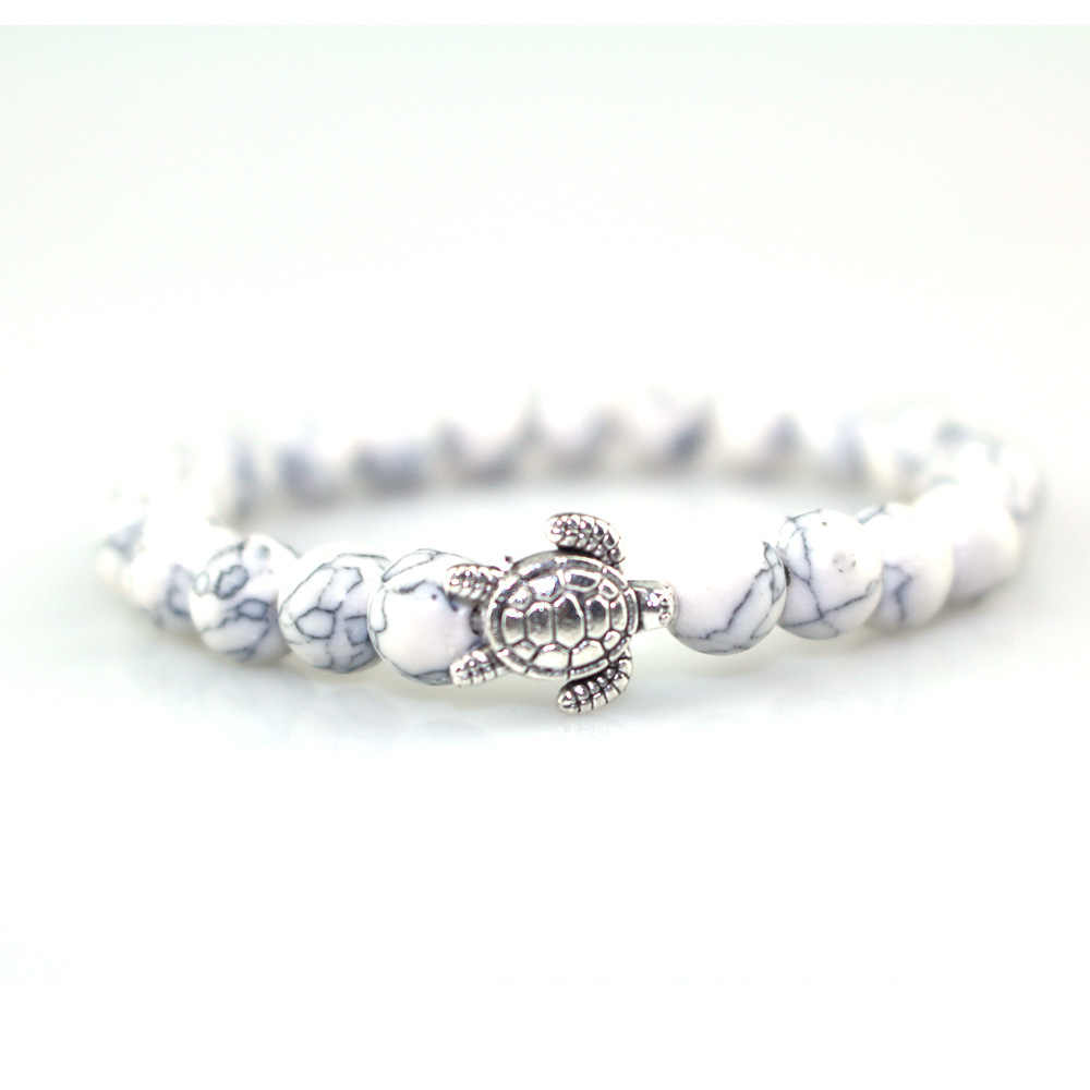 2018 latest fashion ladies bracelet 8MM single circle white bracelet cute silver turtle bracelet lovers bracelet