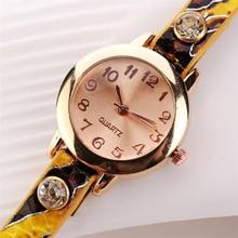 Leather Rhinestone Rivet Chain Quartz Bracelet Wrist Watches For Women
