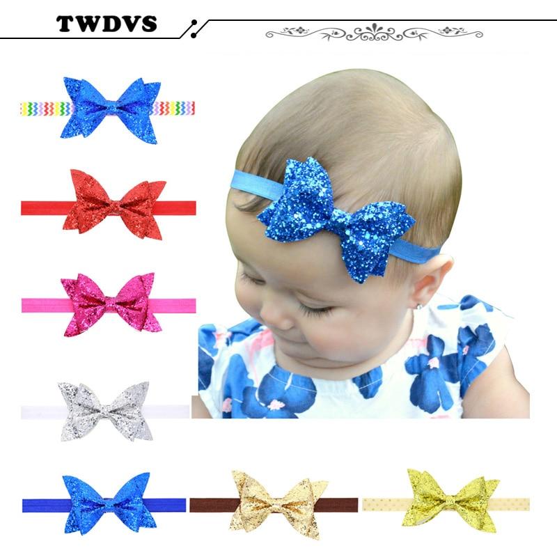 TWDVS Metallisk rotete store buer Nyfødt babyblomst Hodebånd barn - Klær tilbehør - Bilde 2