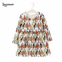 Lanxuanjiaer Children Dress Autumn Wears New Spring Cute Birds Printed Cute Girl Princess Dress For Toddler
