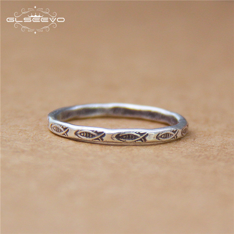 GLSEEVO Real Pure 925 Sterling Silver Vintage Rings For Women Wan Couple Thai Silver Retro Multi-Fish Ring Fine Jewelry GR0125