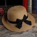 Новый Корейский повелительницы шляпа соломенная шляпа лук козырек пляж шляпа большой шляпе дышащей
