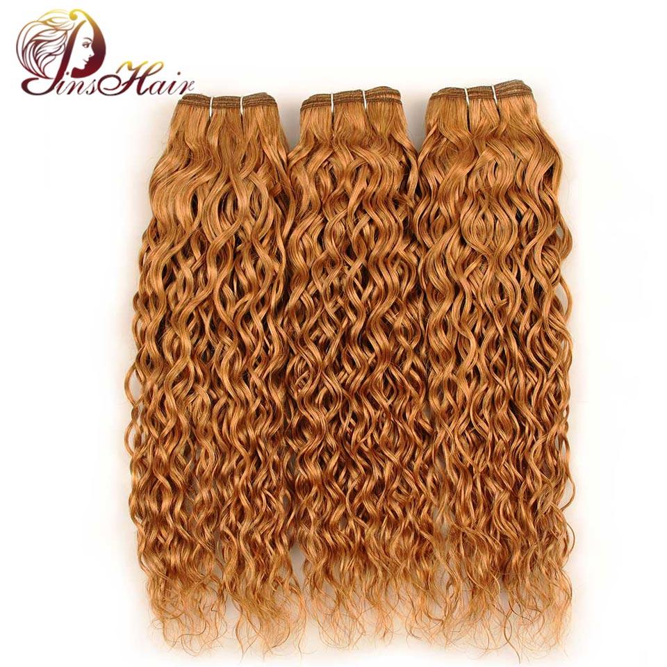 Pinshair 3 Bundles 27 Honey Blonde Bundles Hair Brazilian Water Wave Bundles Deals Human Hair Weave Extensions Nonremy No Tangle