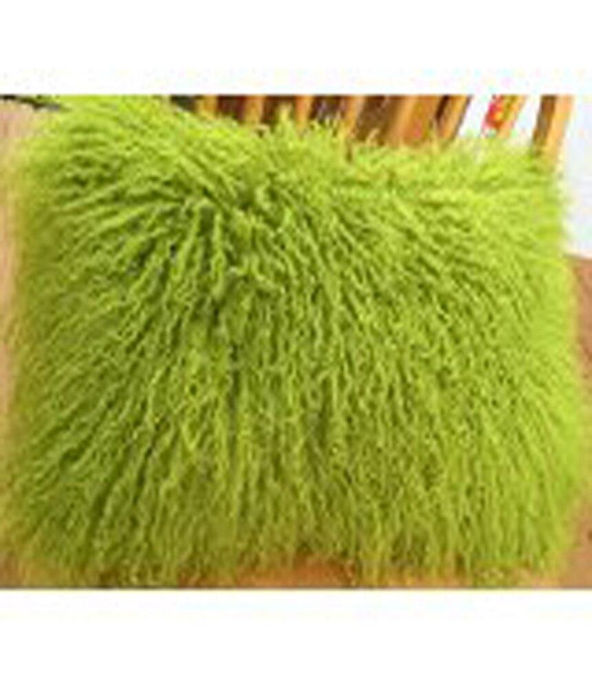 green mongolian fur pillow cover sofa tibetan sheep cushion covers decorative throw pillows