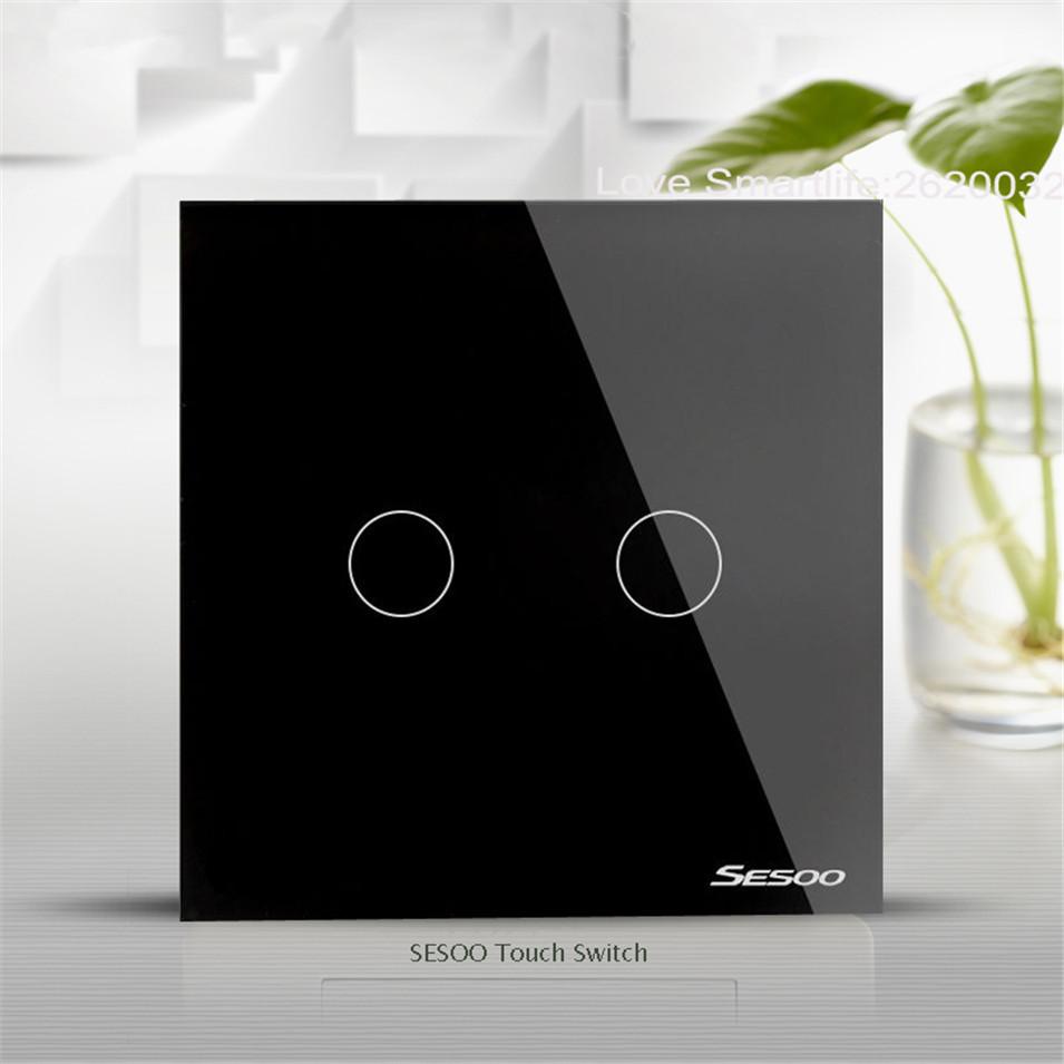 EUUK Standard SESOO Touch Switch 1 Gang2 Gang3 Gang 1 Way,Single Fireline Wall Light Switch,Black Crystal Tempered Glass-2