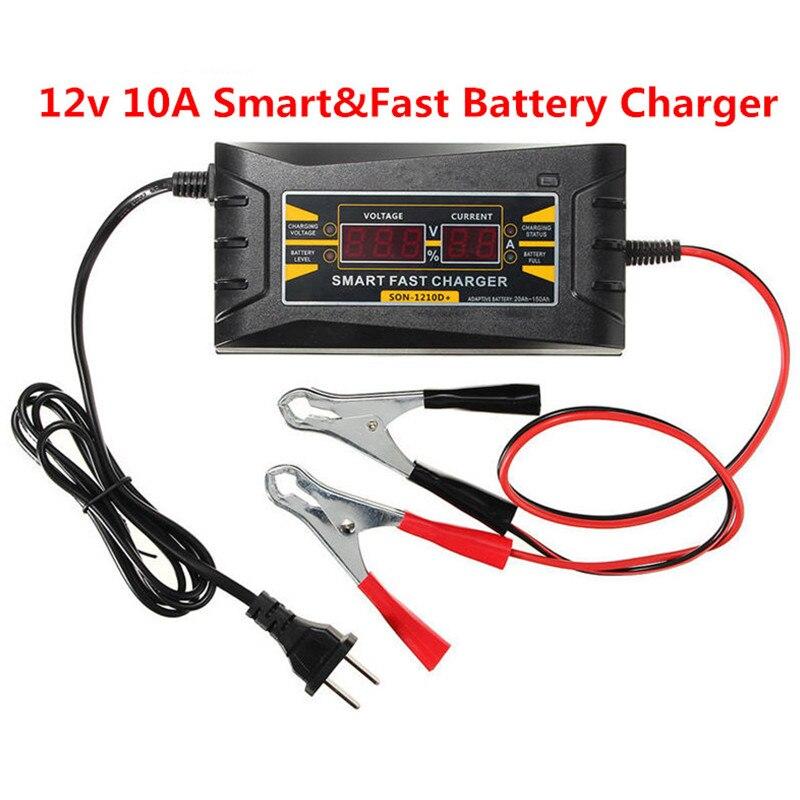 Интеллектуальный автомобиль Батарея Зарядное устройство 12 В 10A 20-150AH Автоматический Смарт-быстрая Батарея Зарядное устройство ЖК-дисплей Д…