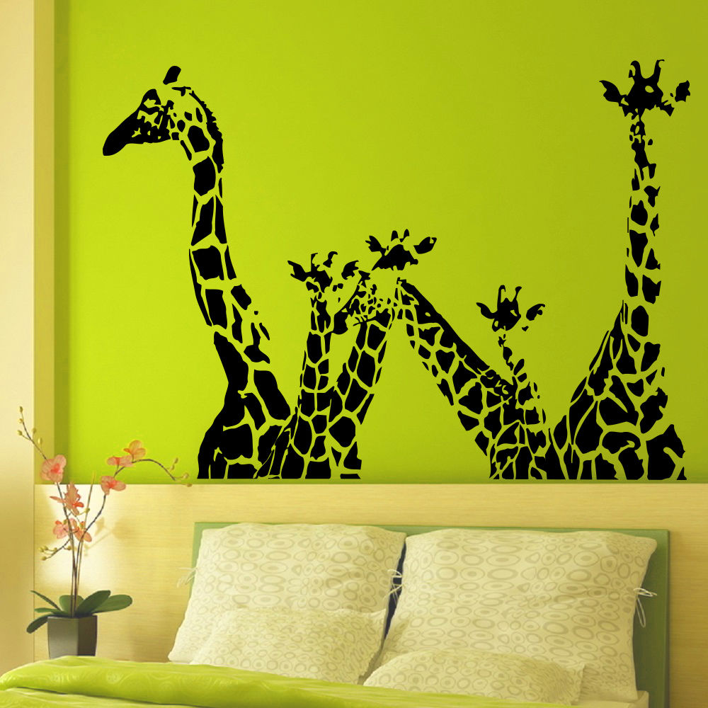 Animal giraffe vinyl wall decal giraffe jungle safari for Animal wall mural