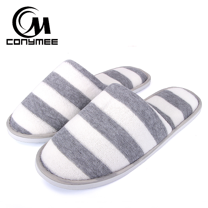 CONYMEE Men Casual Sneakers Striped Couples Hotel/Travel Slippers Flat Shoes Home Indoor Slipper Men's Soft Floor Shoe Pantufas