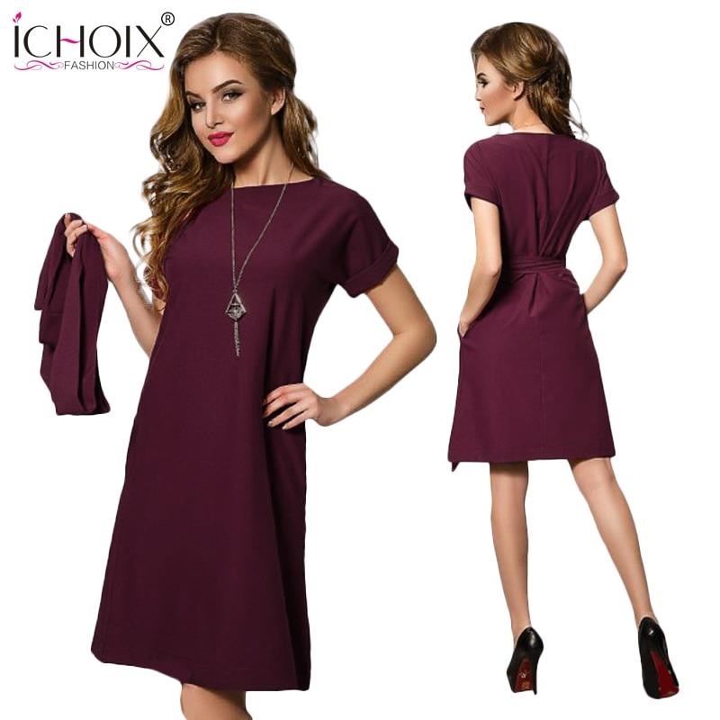 Summer New Women Chiffon Plus Size Dress 2019 Longgar Saiz Besar Elegant Office Ladies Pakaian Fesyen Kasual Pendek Sleeve Dengan Belt