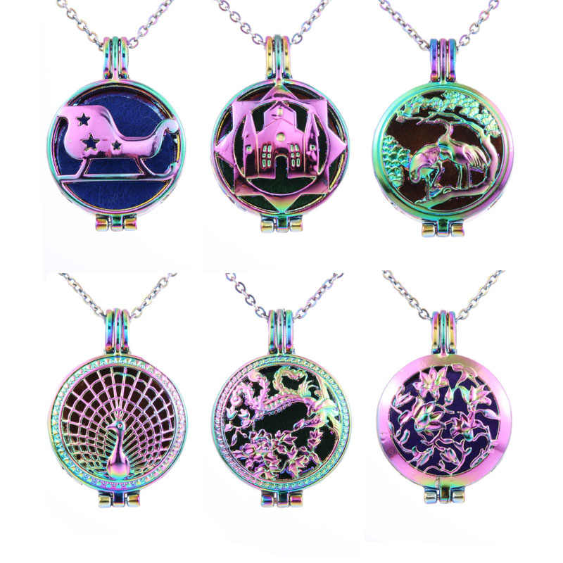 New Colorful owl tree of Life Aromatherapy Necklace Vintage  Essential Oil Aroma Diffuser Necklace Pendant Perfume Locket
