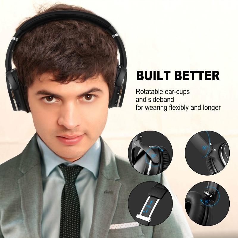 Casque Bluetooth sans fil avec suppression de bruit Active Oneodio avec Microphone apt-x casque ANC à faible latence pour le voyage du téléphone - 4