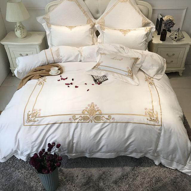 4 6 7pcs egypt cotton baroque style luxury bedding set embroidered