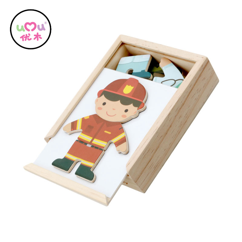 Montessori Materials Sensorial Boy Cloth Changing Wooden Dressing Up Puzzle Early Learning Educational Toys For Kids UC2364H
