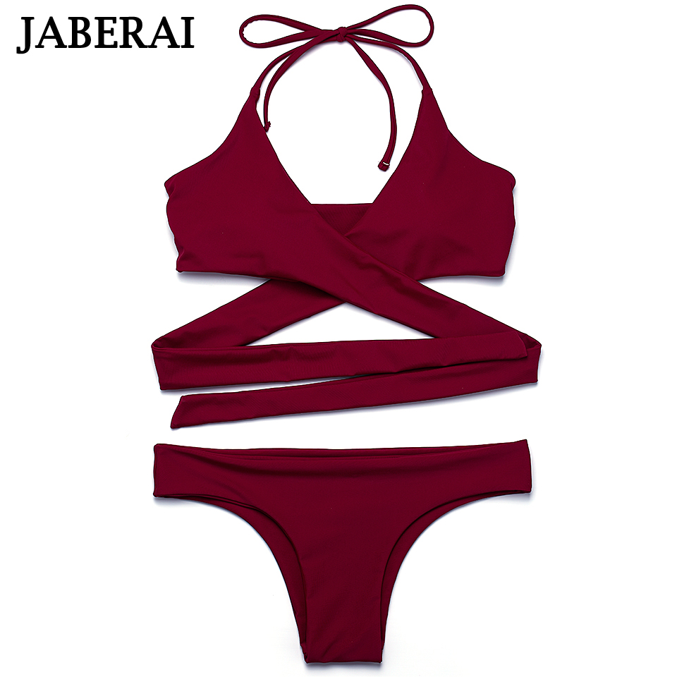 JABERAI String Cross Bikini Brazilian Bottom Swimsuit 2017 Sexy Halter Swimwear Women Bathing Suit Push Up Strappy Bikini Set 2016 halter push up sexy bikini set women brazilian tie at back summer beach sporty swimsuit strappy candy colors fardas 81614
