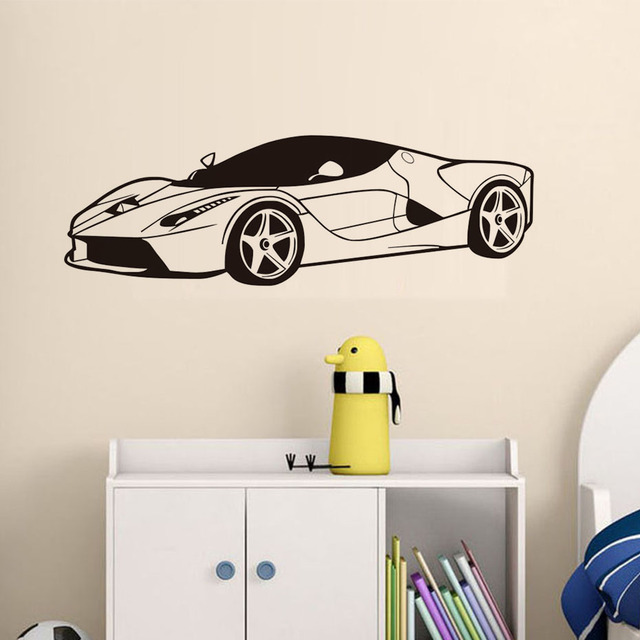 Sports car wall decal sticker wall art vinyl removable wallpaper bedroom design mural interior man cave