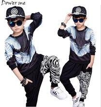 Brand Boy Sport 3D Print Wing Clothes Set Autumn Spring T-shirt+Pants Boys Children Tracksuit Hip Hop Perform Fashion Dance Suit
