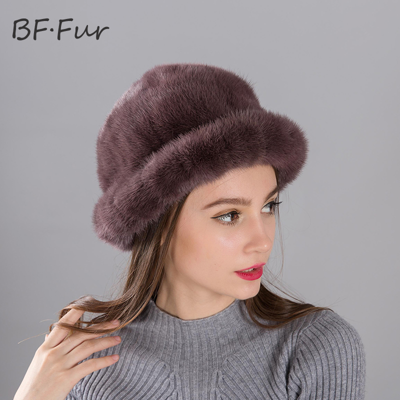 Real Mink Fur Hat Winter Warm For Female Thick Knitted Cotton Round Cap Casual Lady Beanies Adult Winter Hat For Women skullies beanies mink mink wool hat hat lady warm winter knight peaked cap cap peaked cap
