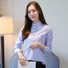 Striped Shirt Women 2017 Winter New Long Sleeve Stand Plus Cashmere Keep Warm Blouse Women Tops Plus Size 3XL Blue Shirts Blusas