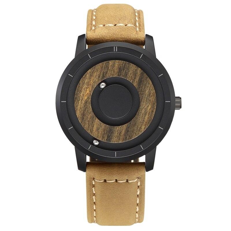 EUTOUR  Magnet Watches 2019 men watch women watches fashion Casual Quartz Watch Simple Men Minimalist Wooden dial 8