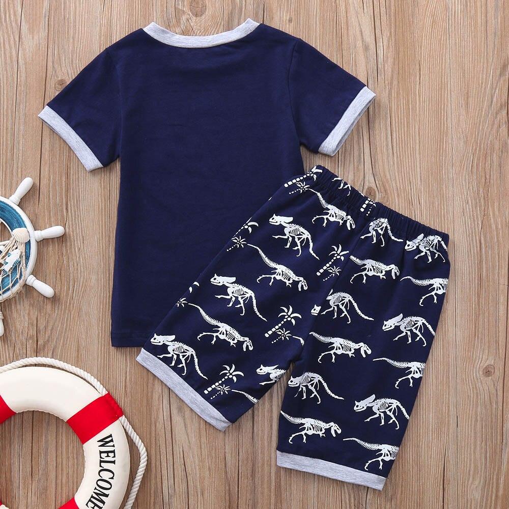 2Pcs Toddler Kids Baby Boys Dinosaur Print Tops+Shorts Outfits Clothes Sets