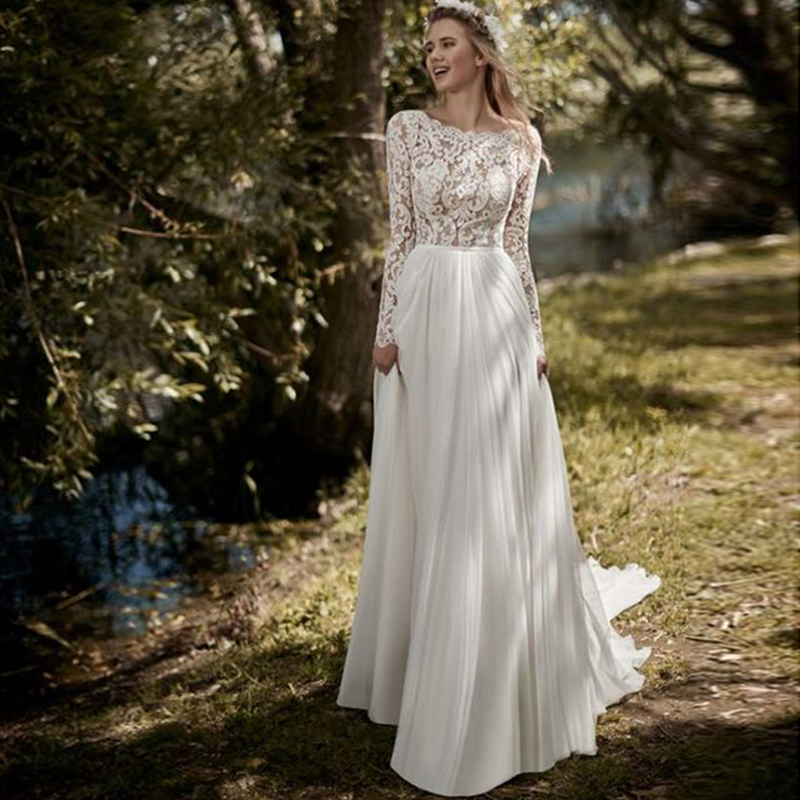 Long Sleeves Boho Wedding Dress 2019 Robe De Mariee Vintage Lace Chiffon Skirt New Bridal Dress Beach Wedding Gowns Sweep Train