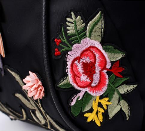 Vintage Handmade Rhinestone Floral Embroidered Backpack women Fashion Nylon waterproof travel mochila kanken backpack 5