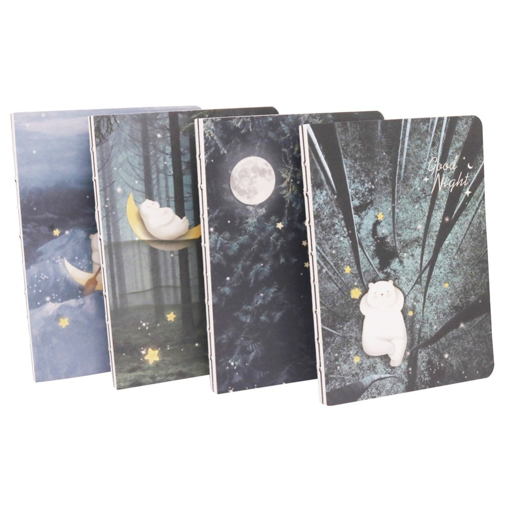 1 pcs Cute Notepad Nocturne Bear Notebook Four Patterns Student Home Office Gift School Three Colors Inner Page Diary 1 pcs wedding straps the retro notepad current notebook replaceable page school office family diary gift book this book 5 color