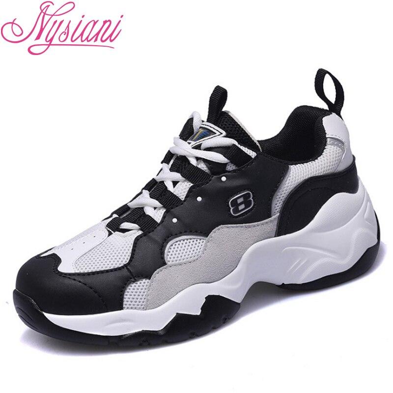 2019 printemps Split cuir femmes Chunky chaussures bout rond à lacets semelles épaisses solide décontracté chaussures femmes baskets Nysiani