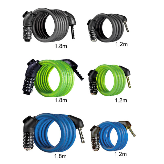 1.2m/1.8m Wheelup Bicycle Mountain Bike Anti Theft Code Password Lock Cable Lock Bike Security Safety Accessories free shipping