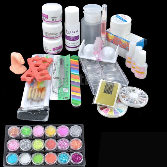 UC-95 Hot Sale Acrylic Glitter Powder Glue File French Nail Art UV Gel Tips Kit Set Dust Stickers Brush cool acrylic nail art tips powder liquid brush glitter clipper primer file set kit 100