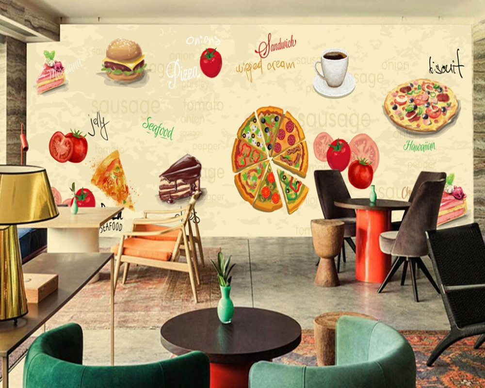 カスタムレトロ壁紙 ピザコーヒーケーキ 3d漫画の壁画をカフェ