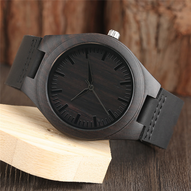 Sort Natural Ebony Wooden Watch Mænds Ægte Læder Creative - Mænds ure - Foto 4