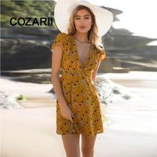 COZARII Yellow Wrap Beach Dress Mini Sexy V neck Women Summer Short Sleeve Floral Print Elegant Boho tops BigsizeXXL